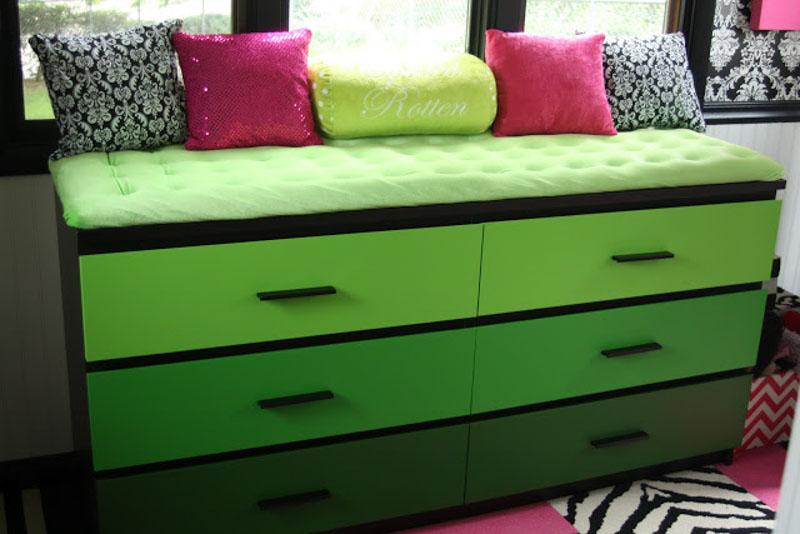 green ombre window seat malm dresser hack