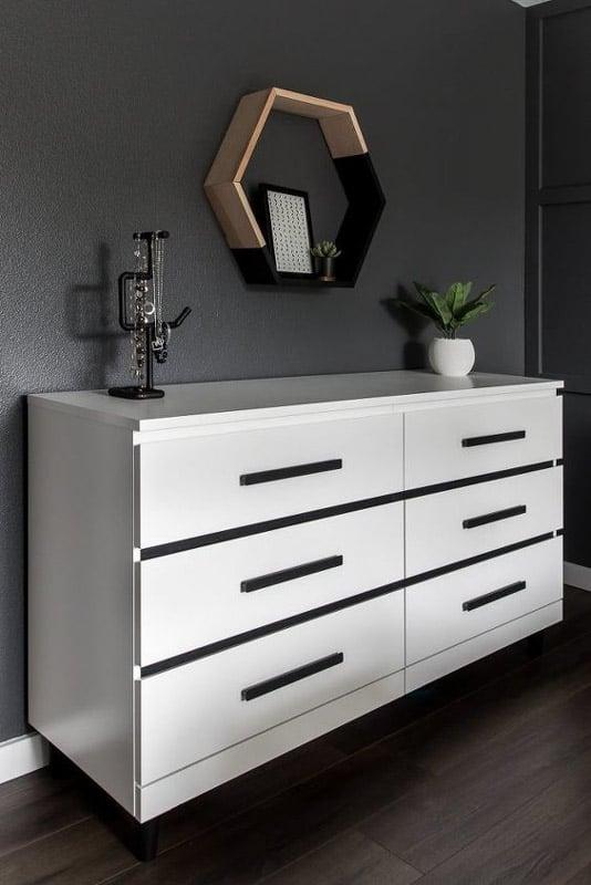 white and black malm dresser upgrade