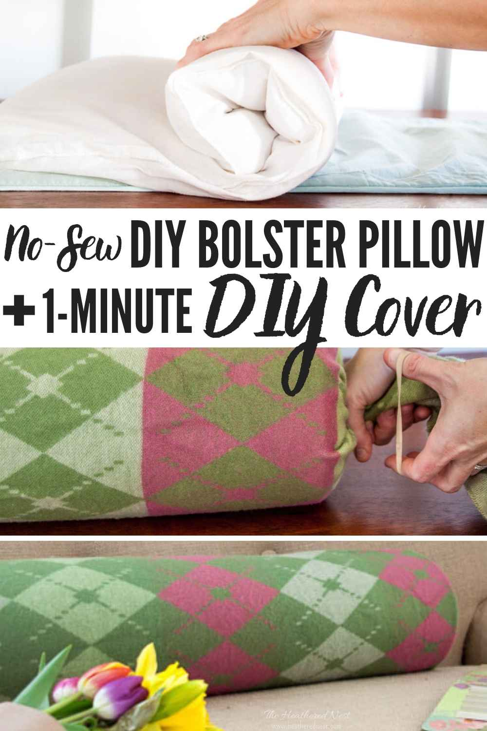 DON'T BUY! DIY a bolster pillow PLUS a cover in under 5-minutes, made with items you ALREADY own! Here's how!