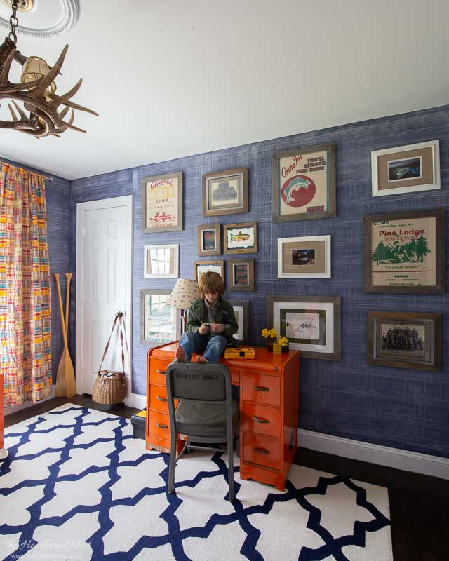 its a colorful life spring home tour 2020 - boys bedroom with child sitting on orange vintage desk