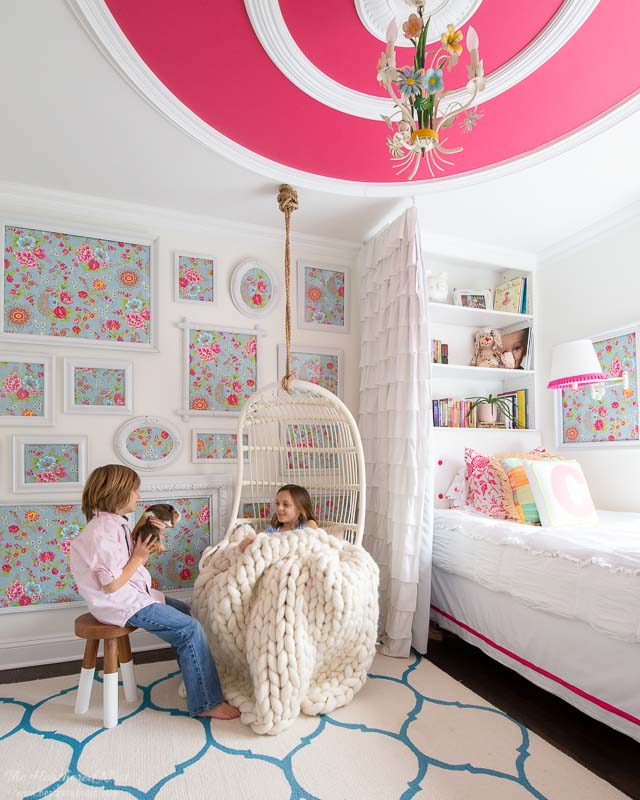 Hanging rattan indoor chair in girls bedroom - its a colorful life spring home tour 2020