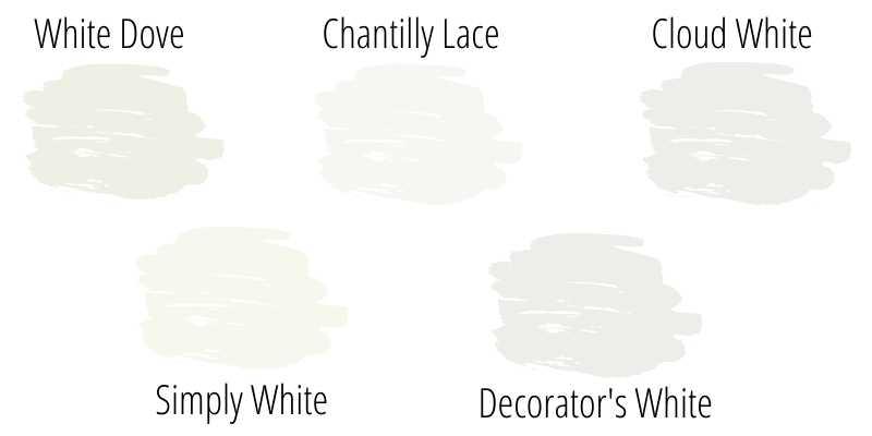 Benjamin Moore White Dove Simply White Cloud White Chantilly Lace Decorators White