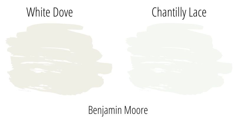 Benjamin Moore White Dove versus Benjamin Moore Chantilly Lace - two very popular shades of white paint