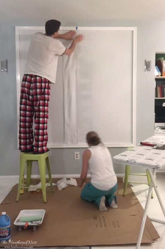 DIY Starched Fabric Wall Treatment for Framed Kids' Art Gallery Wall