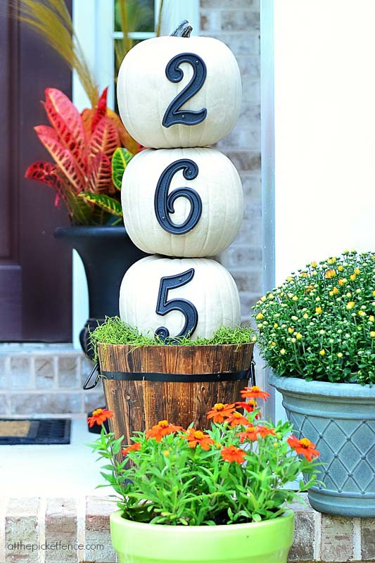 40+ NO CARVE Pumpkin Ideas You'll Want to Try This Fall!! At The Picket Fence Street Address Pumpkin Topiary