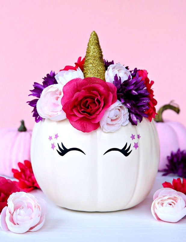 40+ NO CARVE Pumpkin Ideas You'll Want to Try This Fall!! Floral Unicorn Pumpkin from Happy Go Lucky