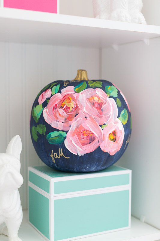 40+ NO CARVE Pumpkin Ideas You'll Want to Try This Fall!! Floral Painted Pumpkin - Craftberry Bush