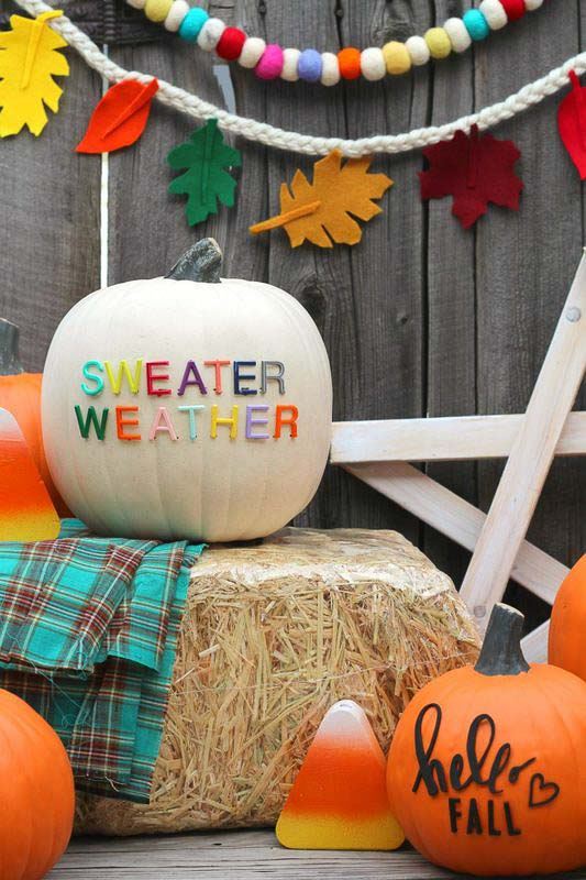 """40+ NO CARVE Pumpkin Ideas You'll Want to Try This Fall!! """"Sweater Weather"""" Letterboard style pumpkin from A Girl and a Glue Gun"""
