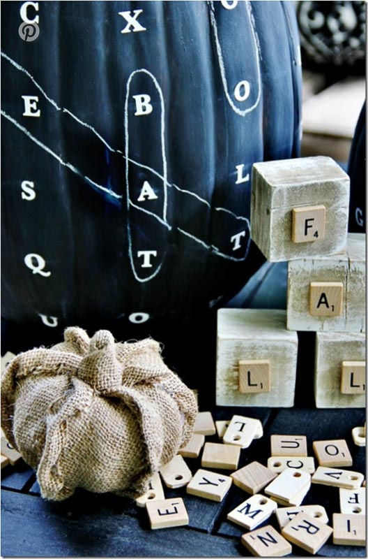 40+ NO CARVE Pumpkin Ideas You'll Want to Try This Fall!! Thistlewood Farms Word Find Scrabble Pumpkin