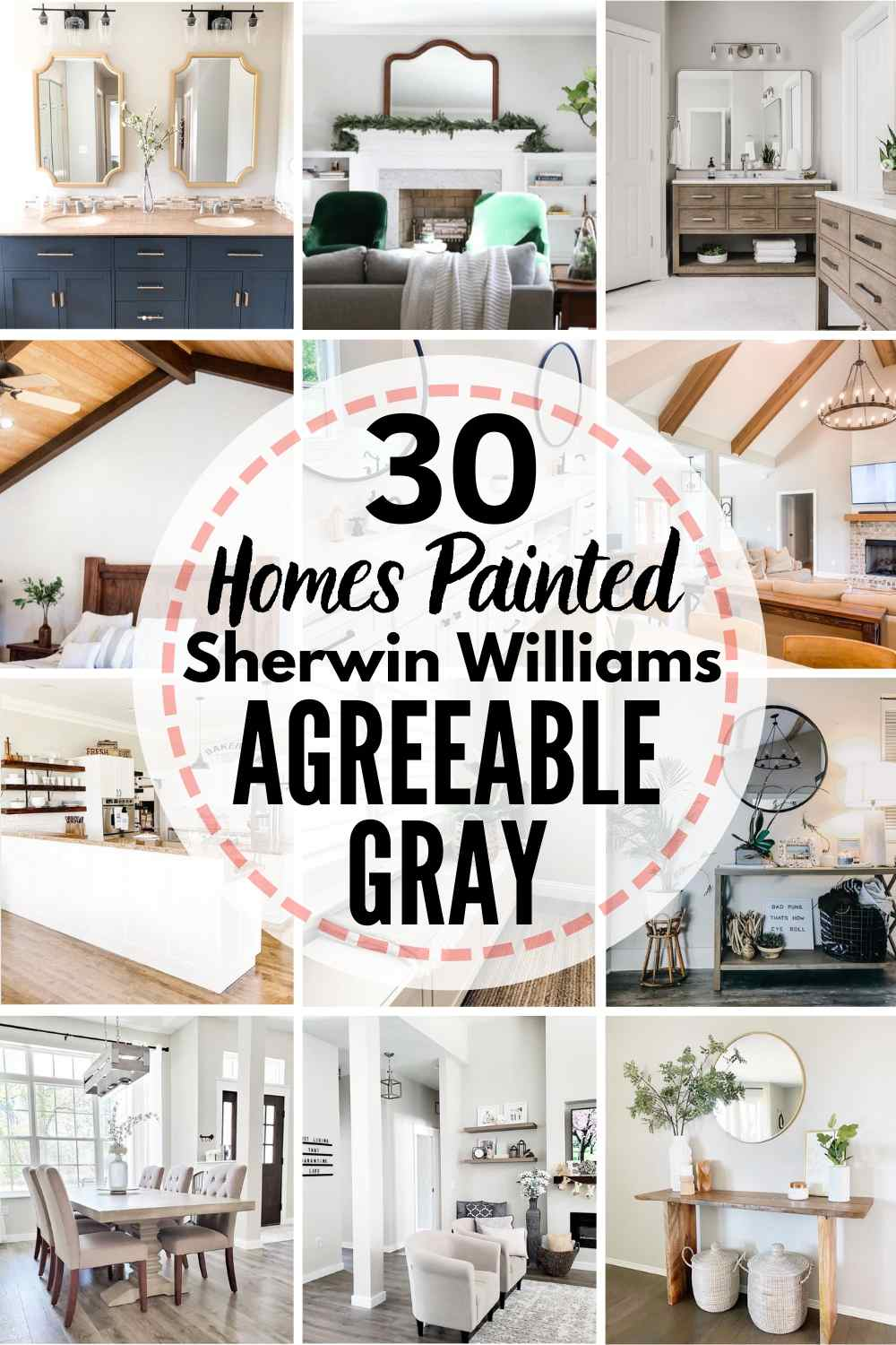 grid image of homes painted in Sherwin Williams Agreeable Gray