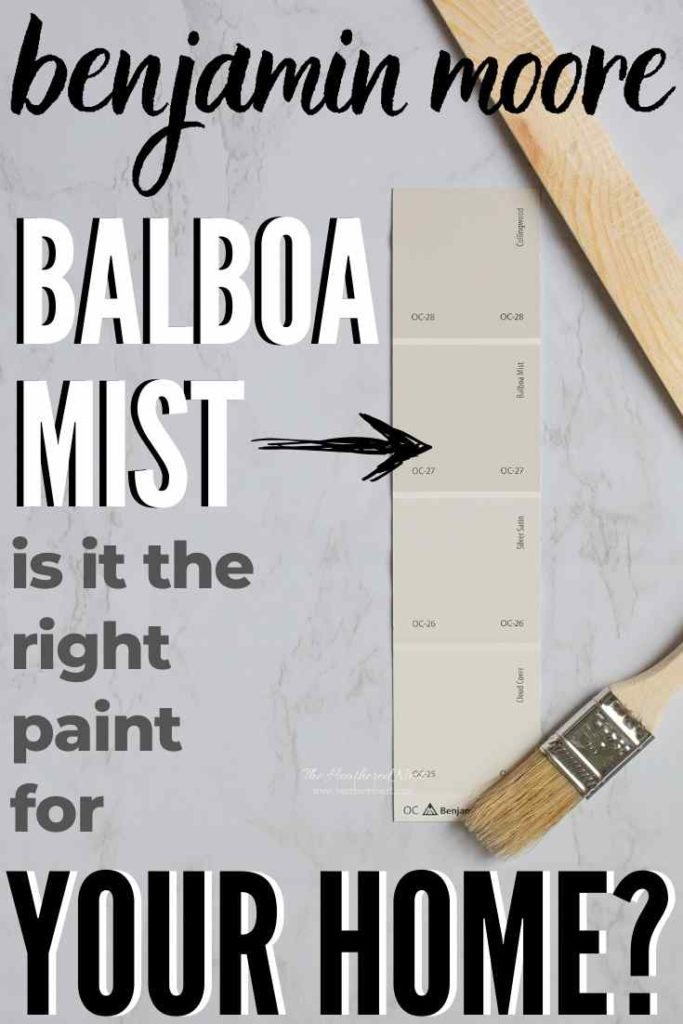 Swatch of Balboa Mist from Benjamin Moore among other warm grays and off-white shades