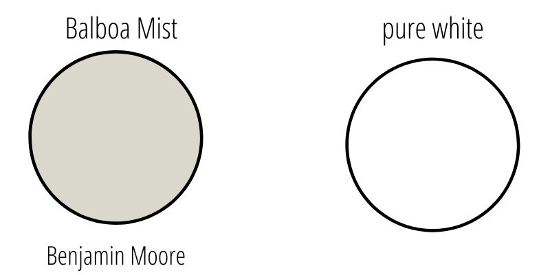 swatches of balboa mist and pure white