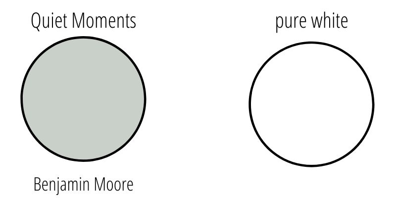 Quiet moments paint by benjamin moore compared to pure white