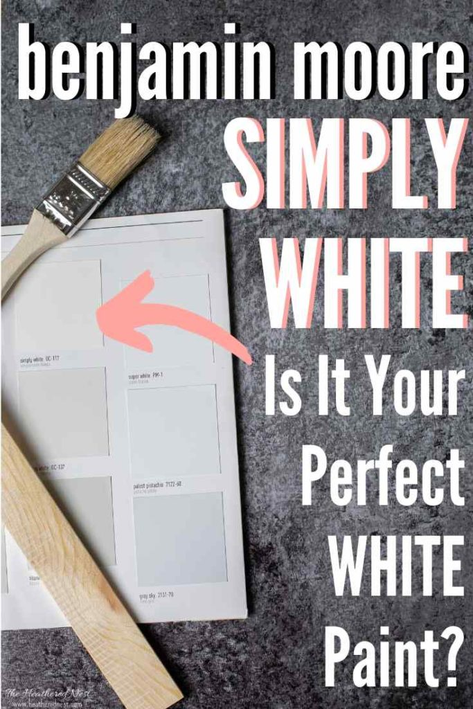 Paint chip of Benjamin Moore Simply White with a paint brush across it.