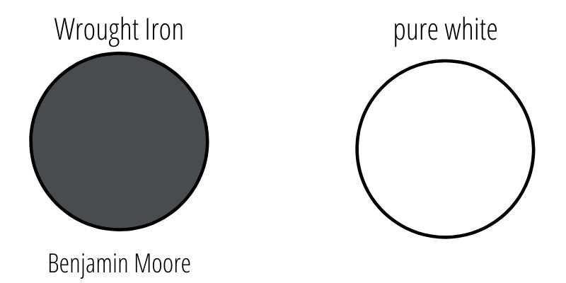 swatch comparison of wrought iron vs pure white