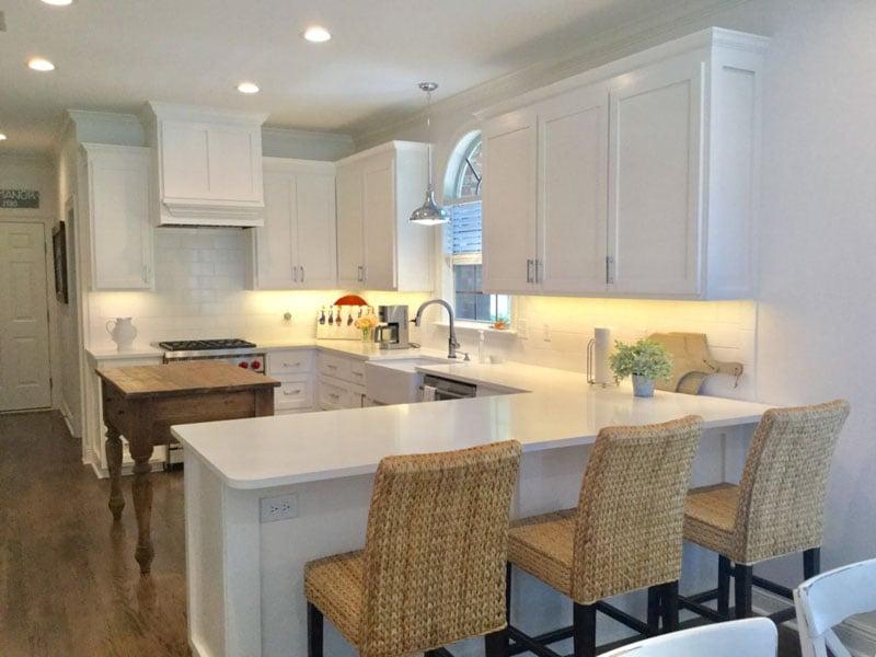 Sherwin Williams Snowbound kitchen cabinets
