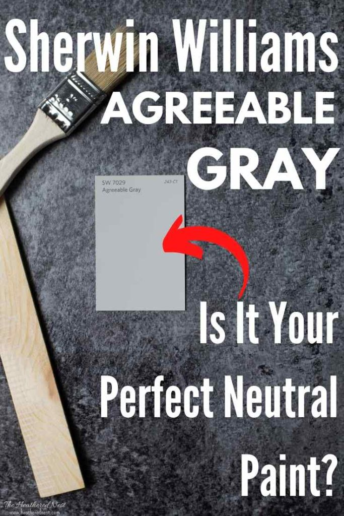 Sherwin Williams Agreeable Gray paint chip on dark slate background with paintbrush and paint stirrer