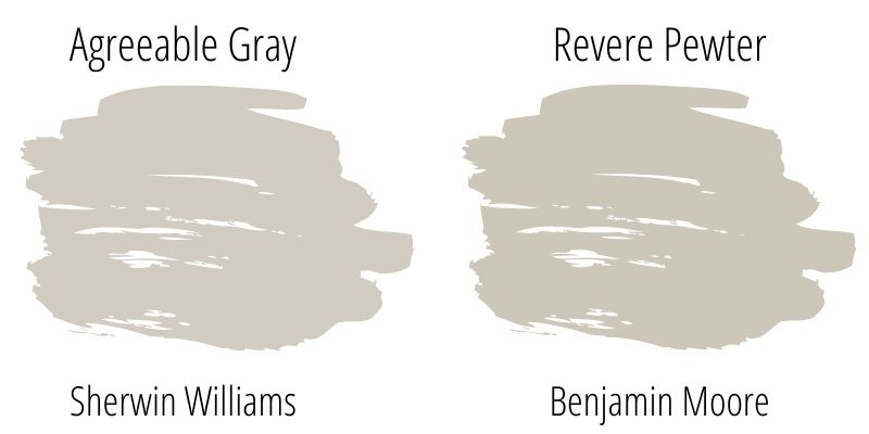 Paint Swatch Comparison of Sherwin Williams Agreeable Gray versus Benjamin Moore Revere Pewter
