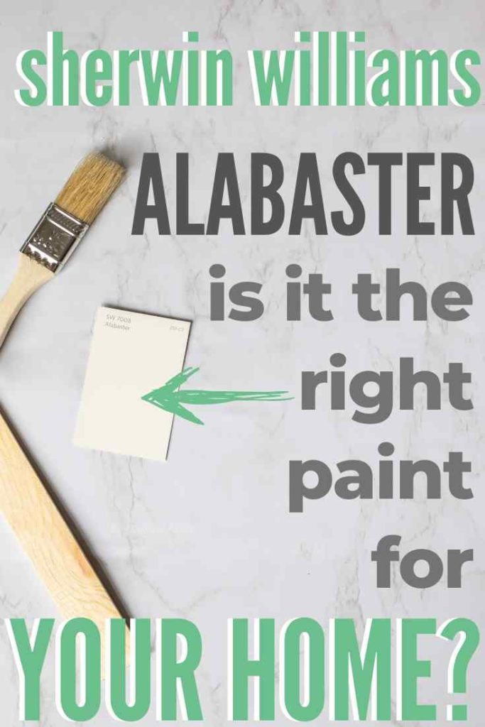 Alabaster paint chip against a gray background