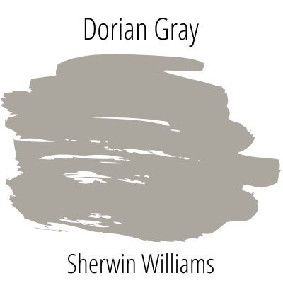 Dorian gray paint swatch on white background