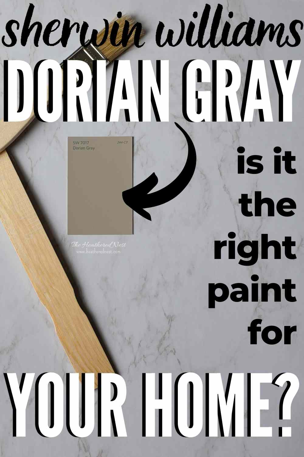Dorian gray paint swatch on marble background