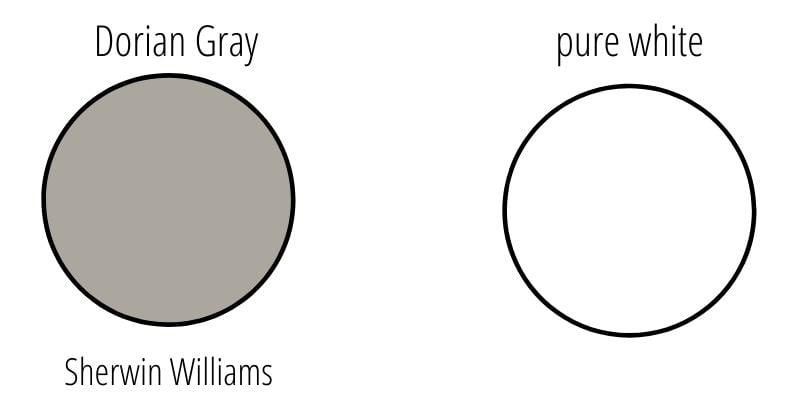 sherwin williams dorian gray vs white
