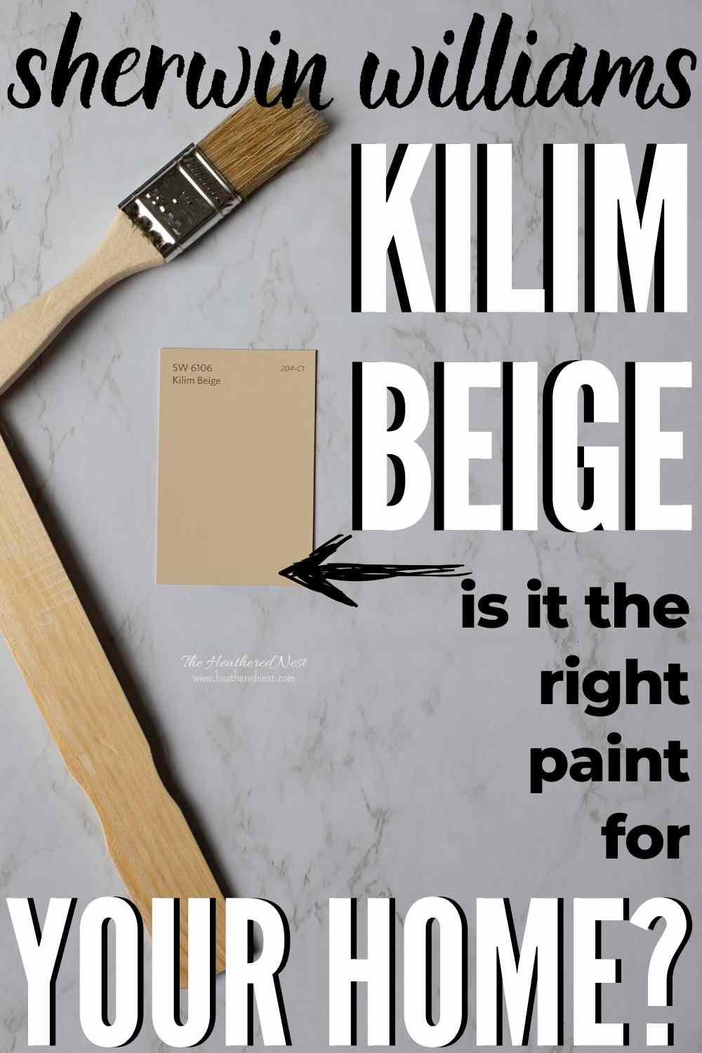 Kilim Beige paint swatch on a marble background