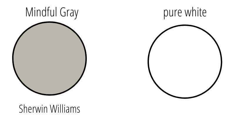 A swatch of mindful gray next to pure white to showcase the LRV