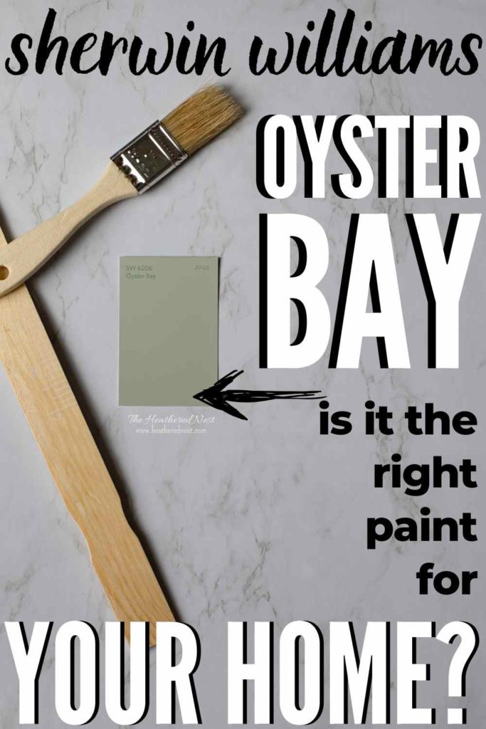 swatch of oyster bay by sherwin williams on a marble background