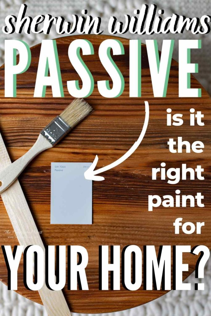 Sherwin Williams Passive paint swatch on a wooden round