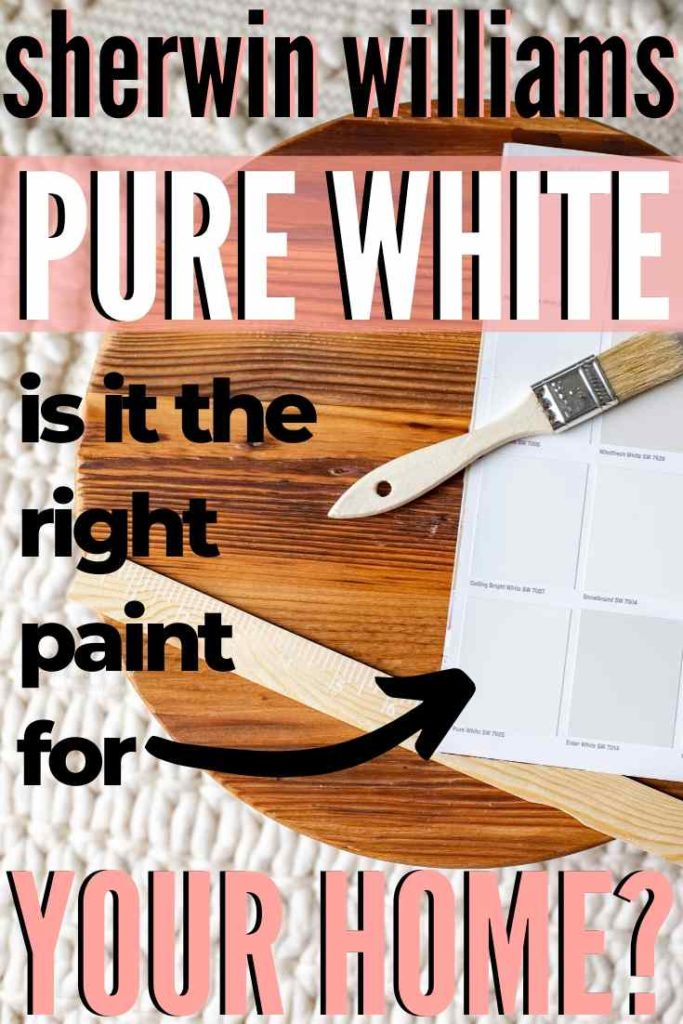 Sherwin Williams pure white paint swatch on a wooden round with other warm shades of white paint.