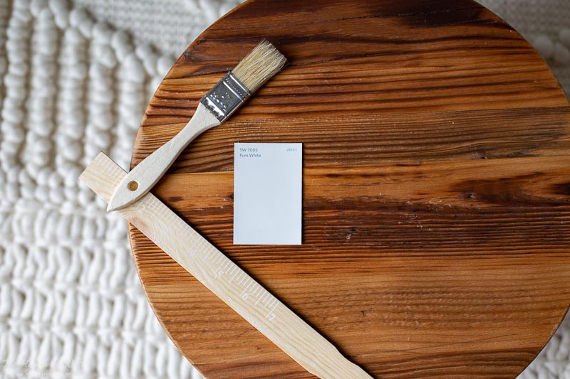 Pure white by Sherwin Williams on a wooden round