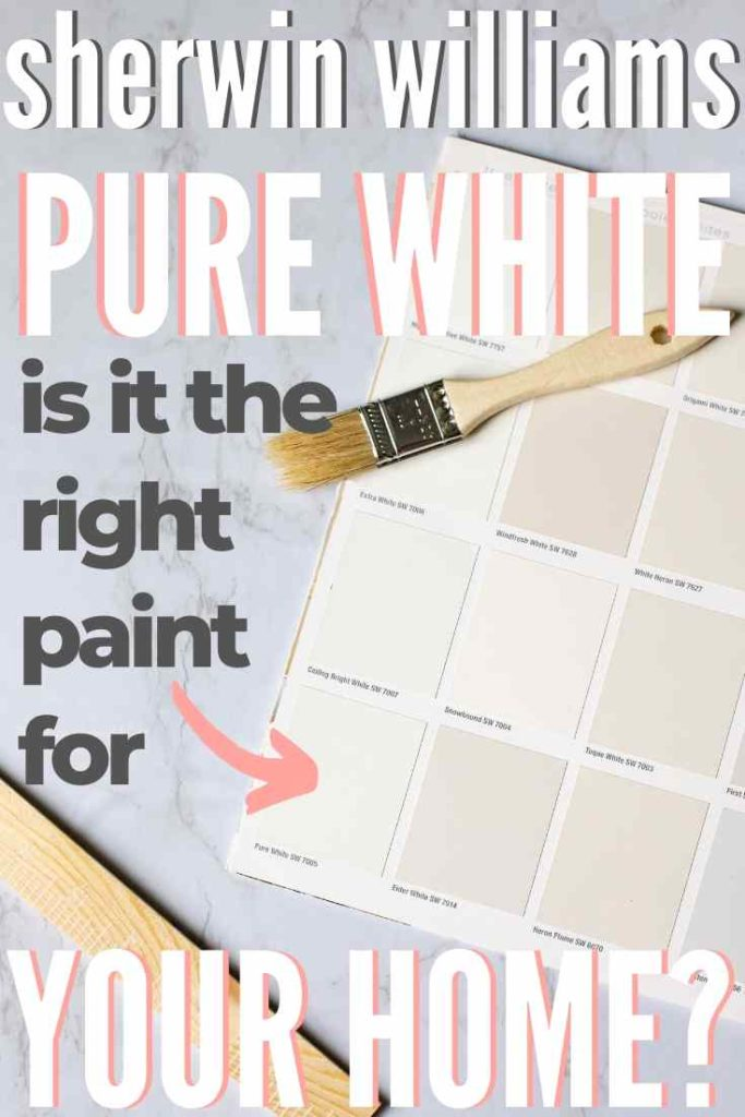 """Sherwin Williams Pure White paint swatch on a marble background with a paintbrush and stirrer: """"Sherwin Williams Pure White is it the right paint for your home?"""""""