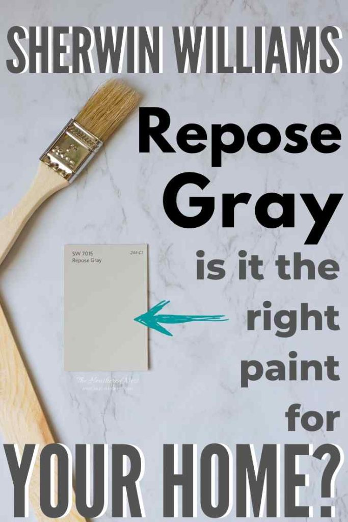 """paintbrush, stirrer and paint swatch of Sherwin Williams Repose Gray on a marble background: """"Sherwin Williams Repose Gray is it the right paint for your home?"""