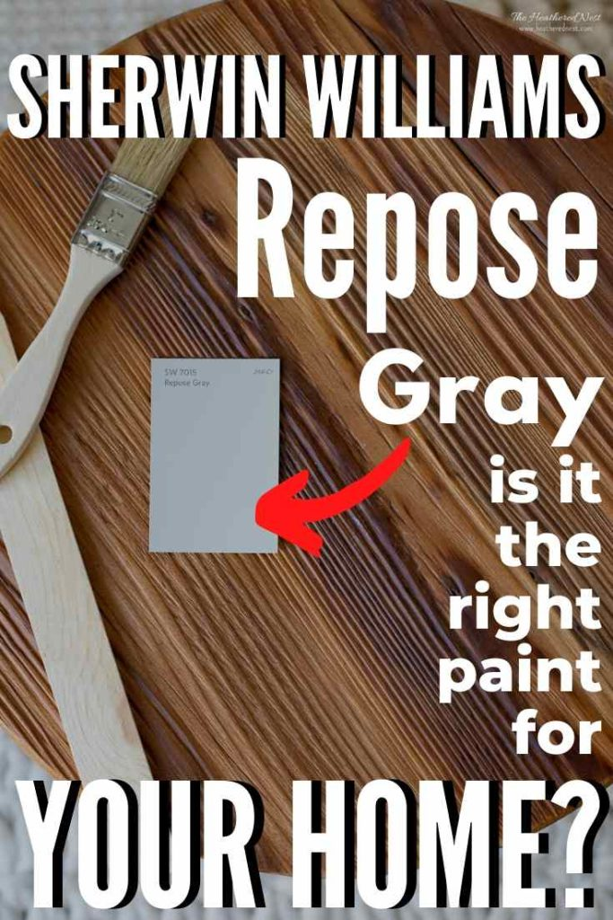 """paintbrush, stirrer and paint swatch of Sherwin Williams Repose Gray on a wood background""""sherwin williams repose gray - is it the right paint for you?"""