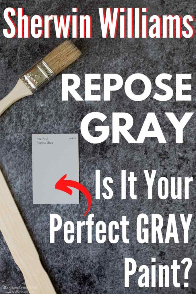 """paintbrush, stirrer and paint swatch of Sherwin Williams Repose Gray on a slate background: """"Sherwin Williams Repose Gray is it your perfect gray paint?"""""""
