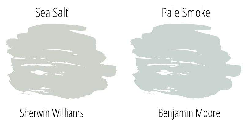Sherwin Williams Sea Salt versus Benjamin Moore Pale Smoke