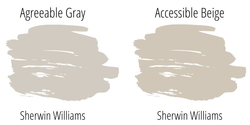Paint Swatch Comparison of Sherwin Williams Agreeable Gray versus Sherwin Williams Accessible Beige