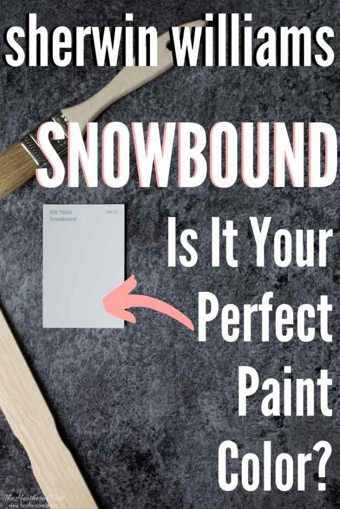 SW Snowbound, a cool white, against a gray slate background