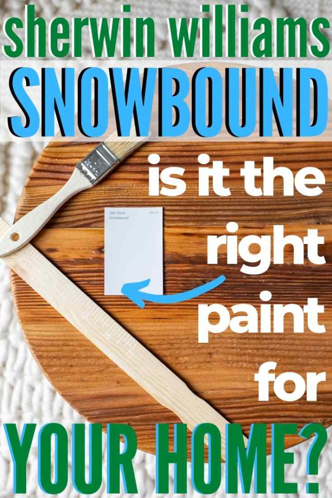 Sherwin Williams Snowbound paint chip on a wood cake plate with wood paintbrush and paint stirrer