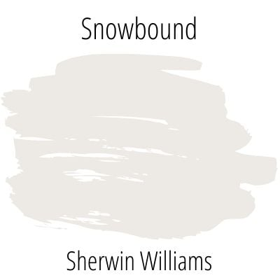 Swatch of SW Snowbound paint on a white background