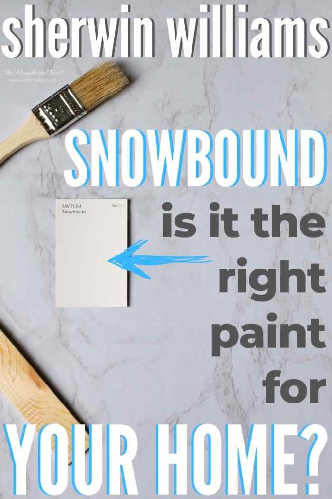 Sherwin Williams Snowbound paint chip on a marble background