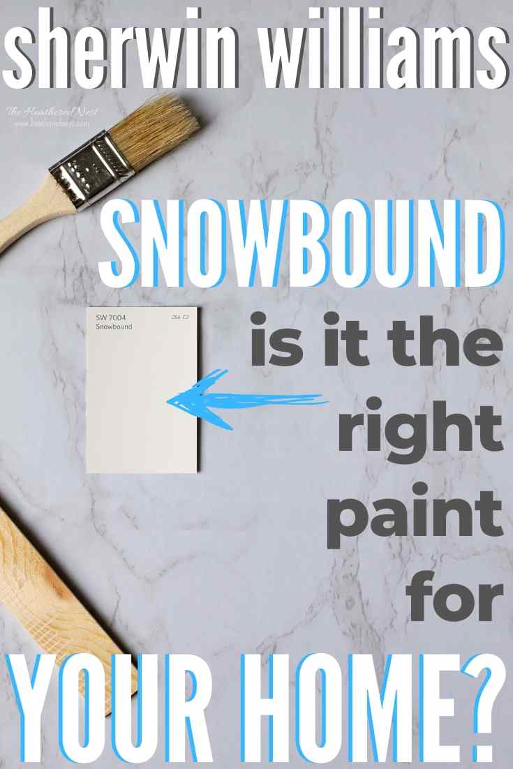 Sherwin Williams Snowbound on a marble countertop with paint stick and paint brush