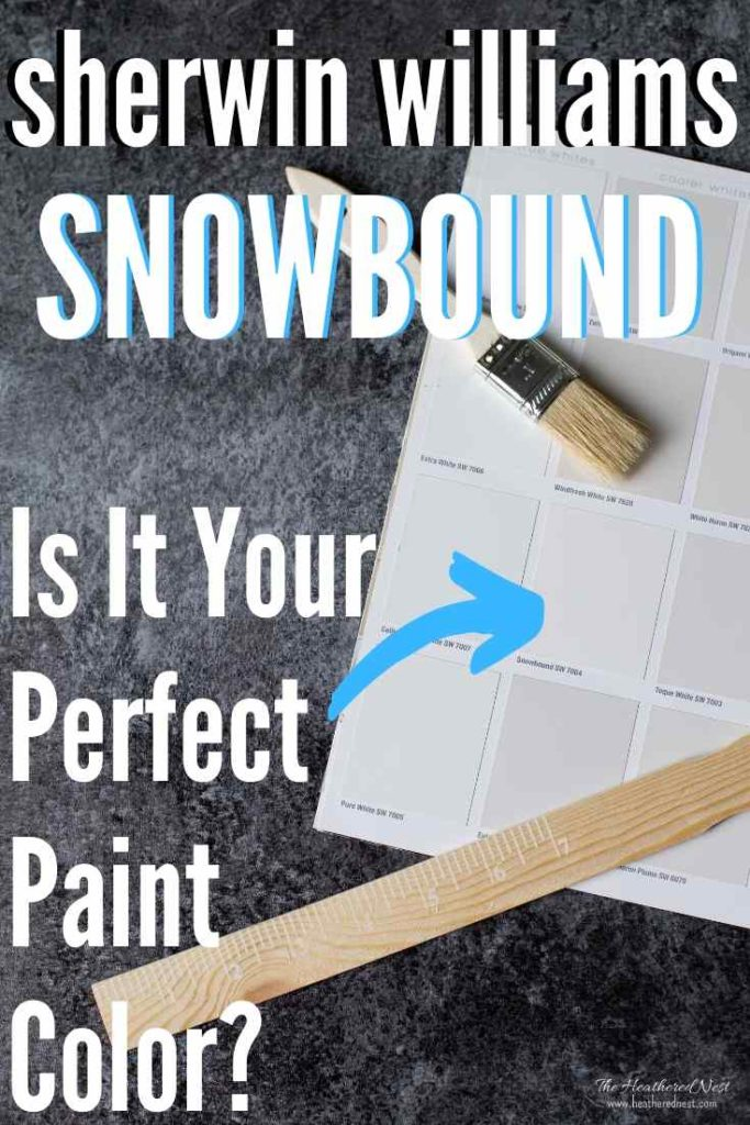 Sherwin Williams Snowbound paint chip next to other white tones