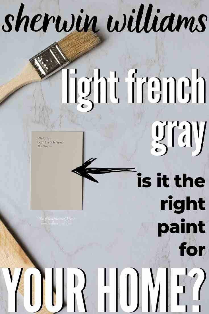 Sherwin Williams Light French Gray on a marble background
