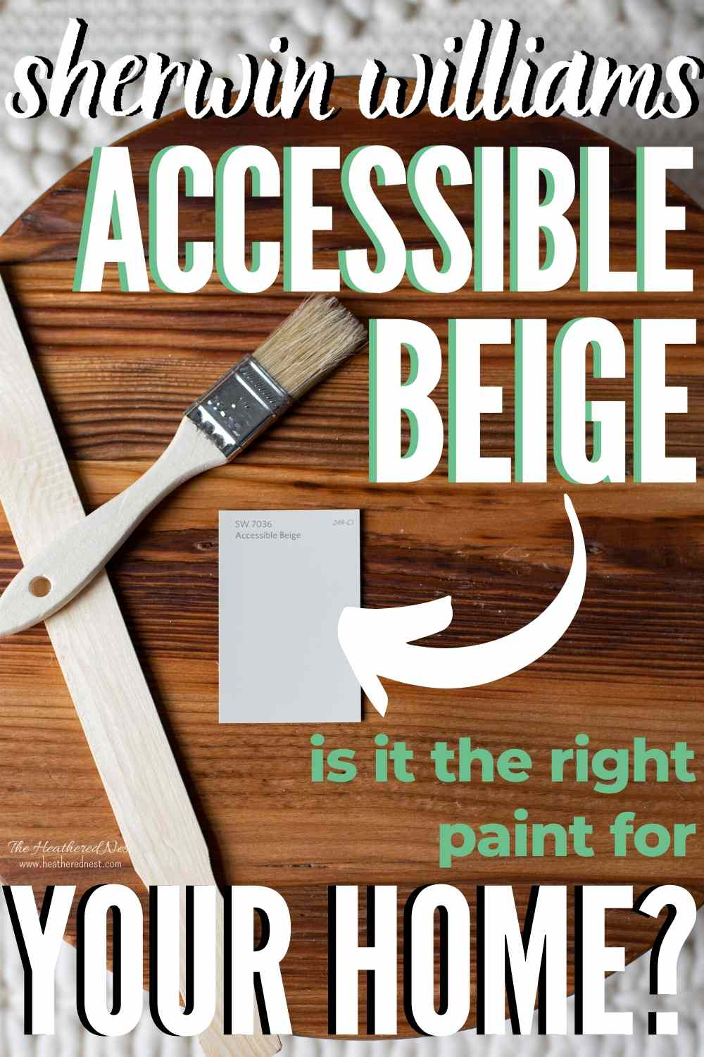 accessible beige swatch on a wooden background