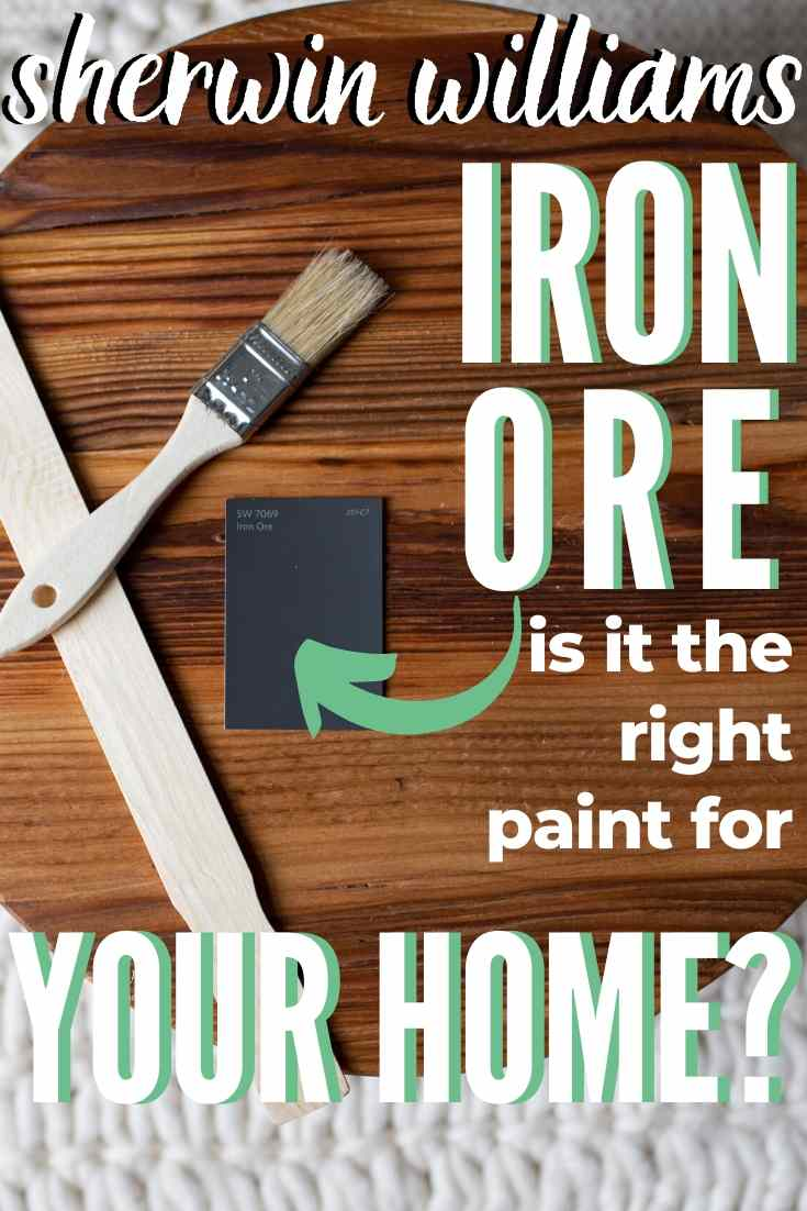 Sherwin Williams Iron Ore paint swatch on a wooden round