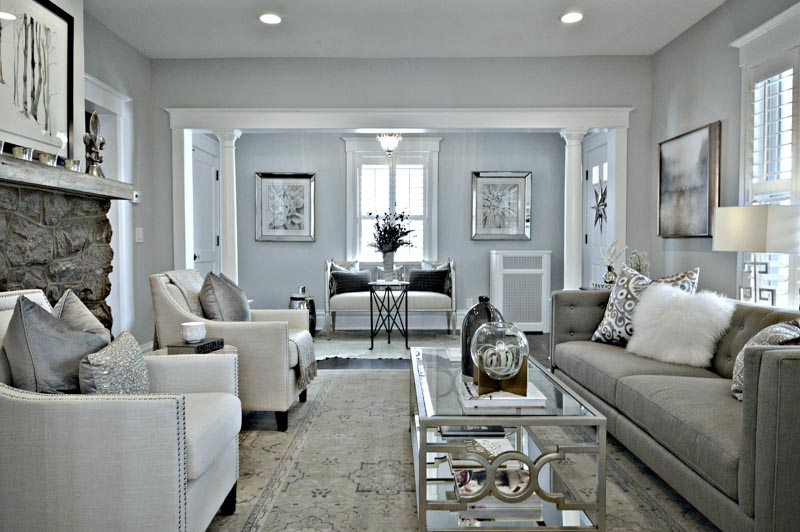 formal living room with balboa mist walls and other gray and neutral decor elements
