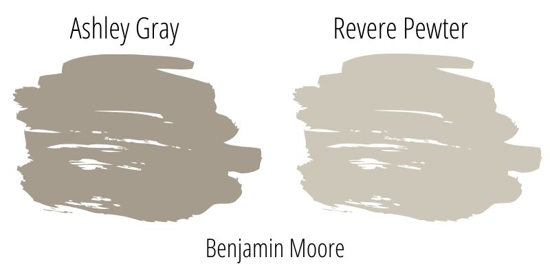 Side by side swatch comparison of revere pewter and ashley gray