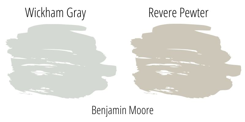 Side by side swatch comparison of revere pewter and wickham graygray